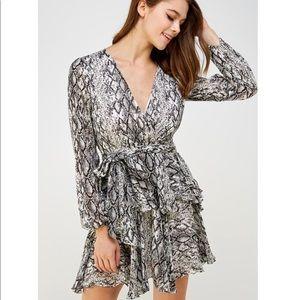 Do + Be Metallic Snake Print Long Sleeve Dress